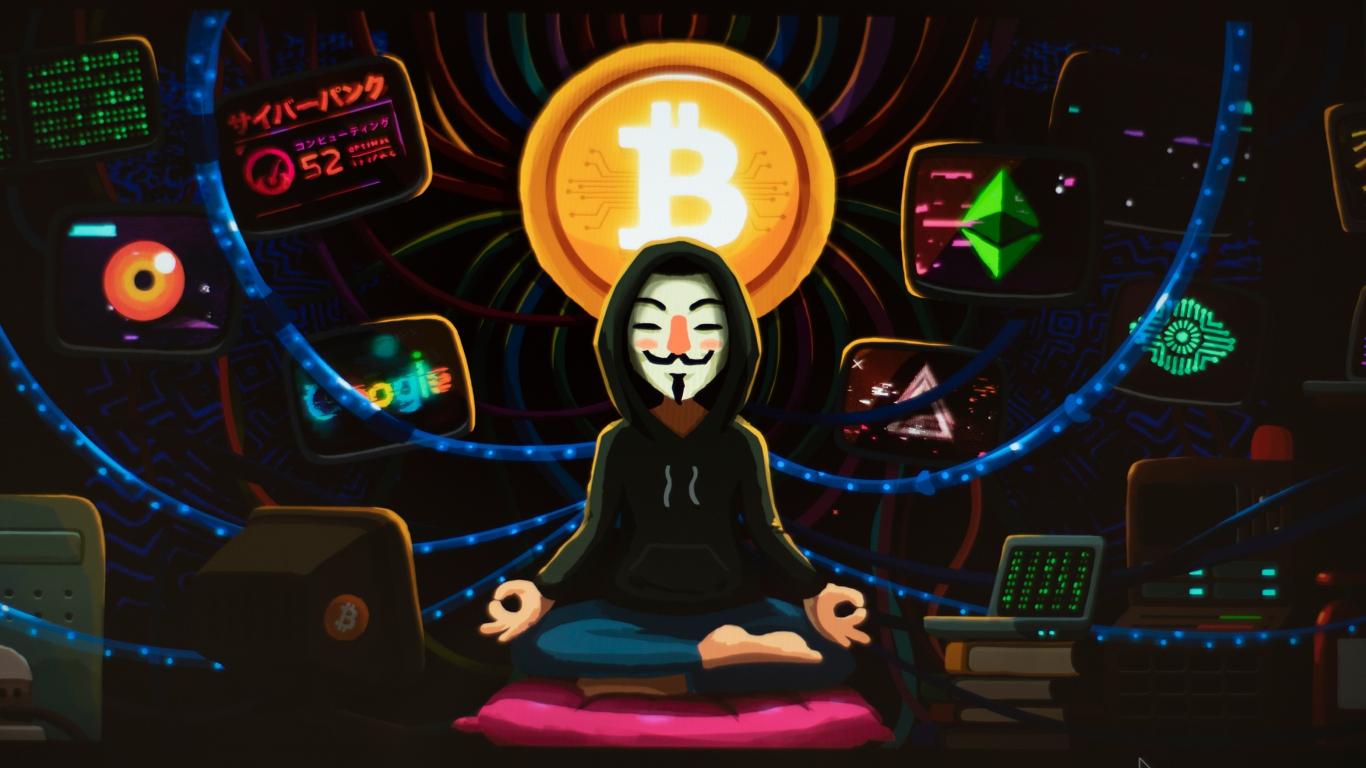 Download 1366x768 Wallpaper Meditation Art Anonymous Hacker Bitcoin Tablet Laptop 1366x768 Hd Image Background 21755