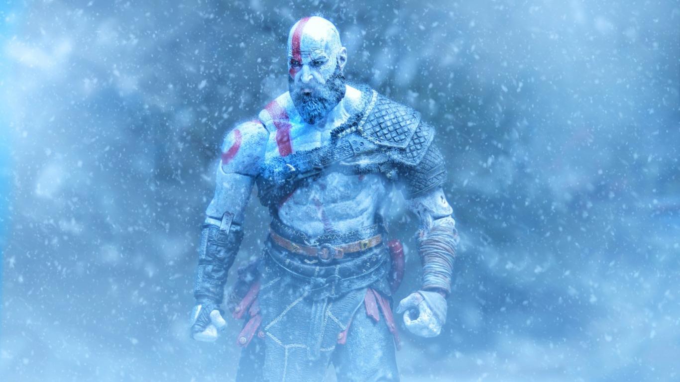 Download 1366x768 Wallpaper Kratos God Of War Video Game