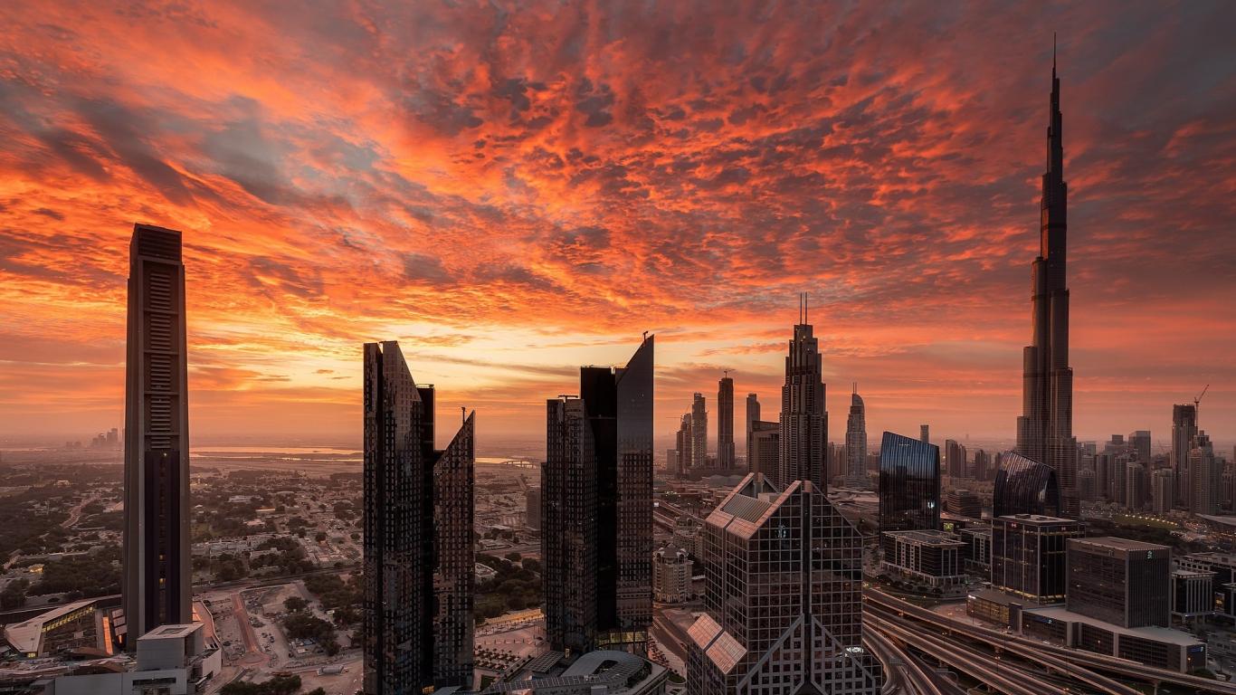 Download 1366x768 Wallpaper Cityscape City Dubai Sunset