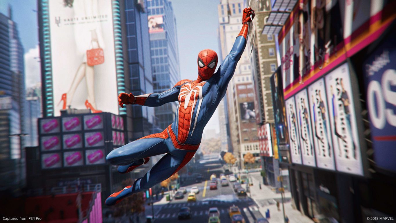 Spider-man Ps4, video game, hanging, 2018, 1366x768 wallpaper