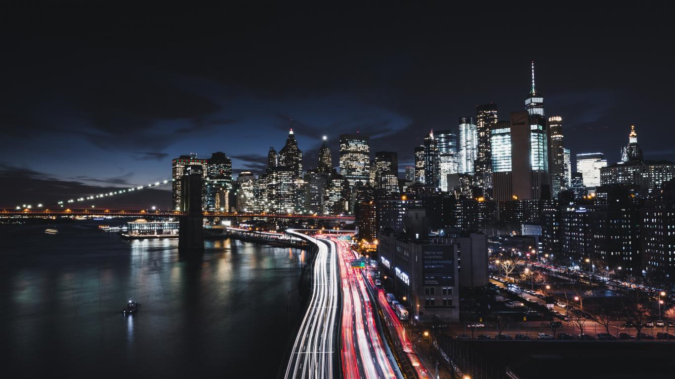 Download 1366x768 Wallpaper New York City Night Road Buildings