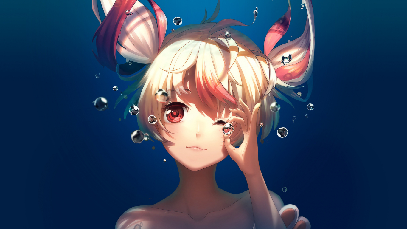 Bubble, underwater, cute, anime girl, Gonna be the Twin-Tail!!, 1366x768 wallpaper