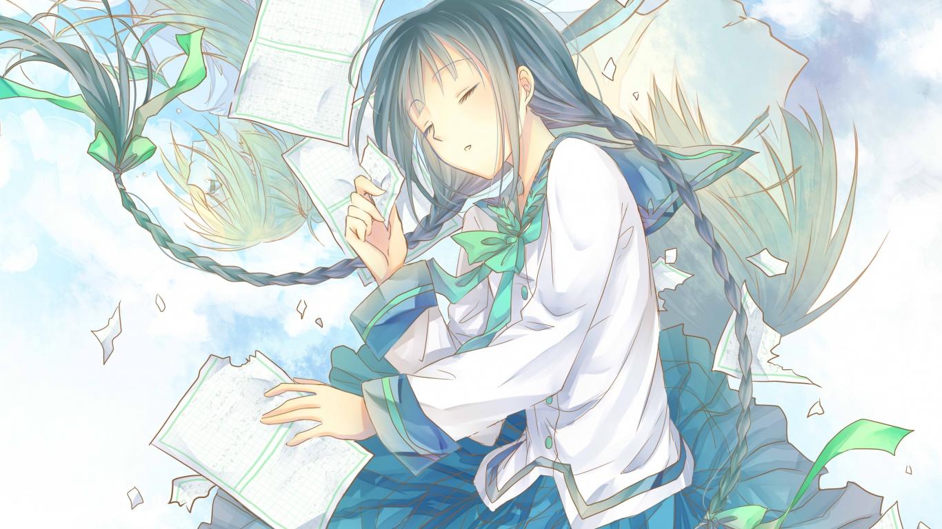 Download 1366x768 Wallpaper Sleep Cute Anime Girl Artwork Tablet Laptop 1366x768 Hd Image Background 17721