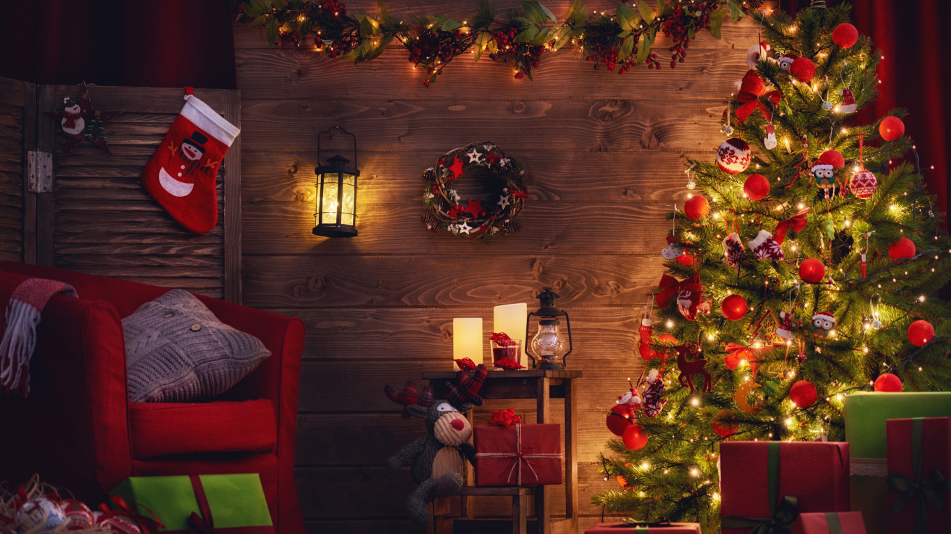 Download 1366x768 Wallpaper Christmas Tree Holiday Decorations