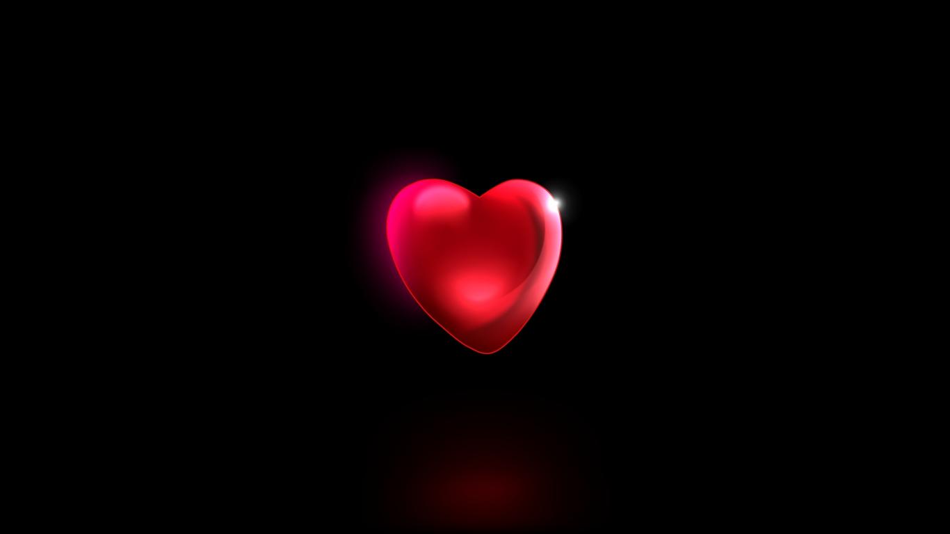 Download 1366x768 Wallpaper Minimal Red Heart 3d Tablet