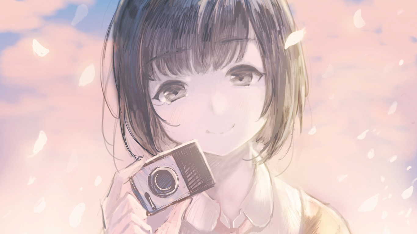 Download 1366x768 Wallpaper Anime Girl Camera Cute Tablet Laptop 1366x768 Hd Image Background 6743