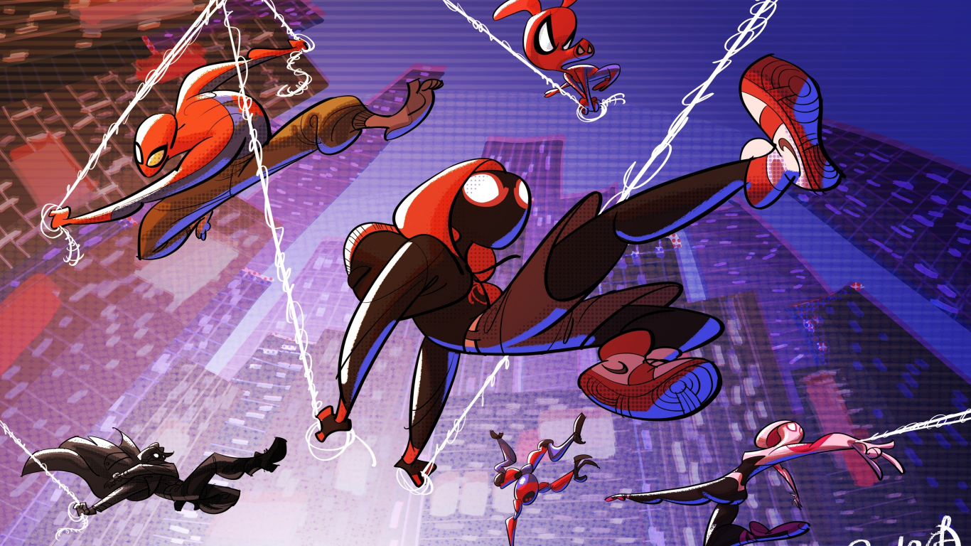 Download 1366x768 Wallpaper All Superheroes Movie Artwork Spider Man Into The Spider Verse Tablet Laptop 1366x768 Hd Image Background 17906