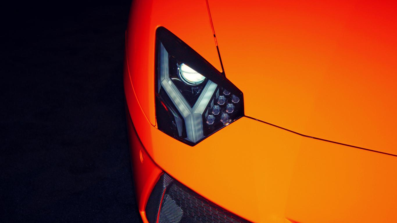 Exotic car, Lamborghini, headlight, 1366x768 wallpaper