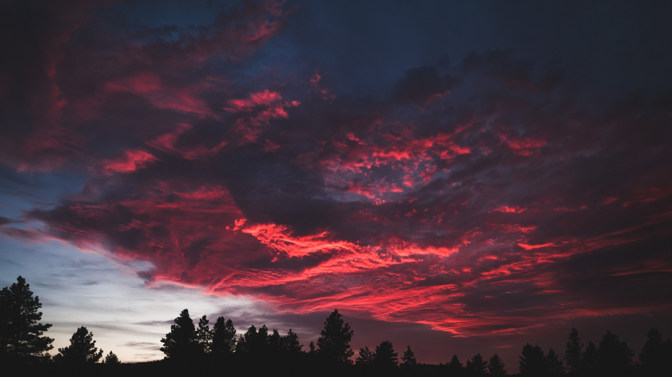 Download 1366x768 Wallpaper Colorful Clouds Sunset Dark