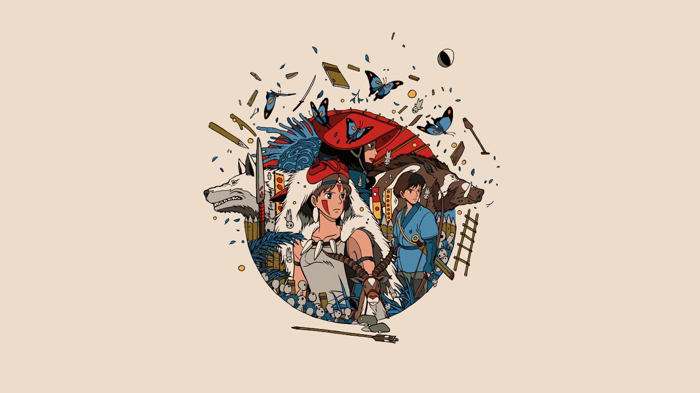 Minimal, anime, princess mononoke, 1366x768 wallpaper