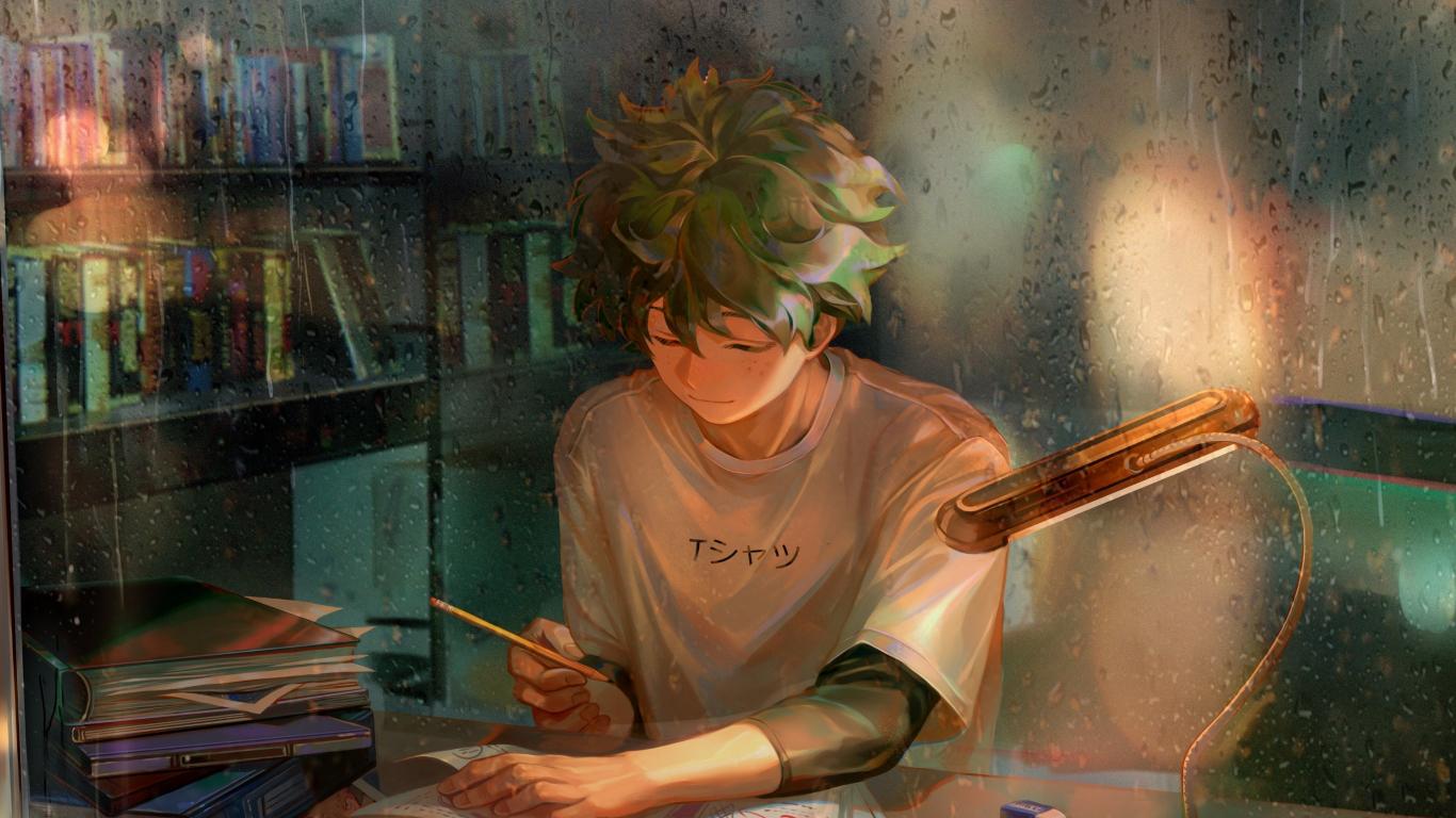1366x768 wallpaper homework green hair anime