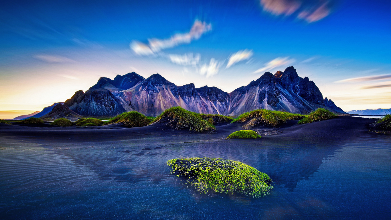 Download 1366x768 wallpaper mountains, iceland ...