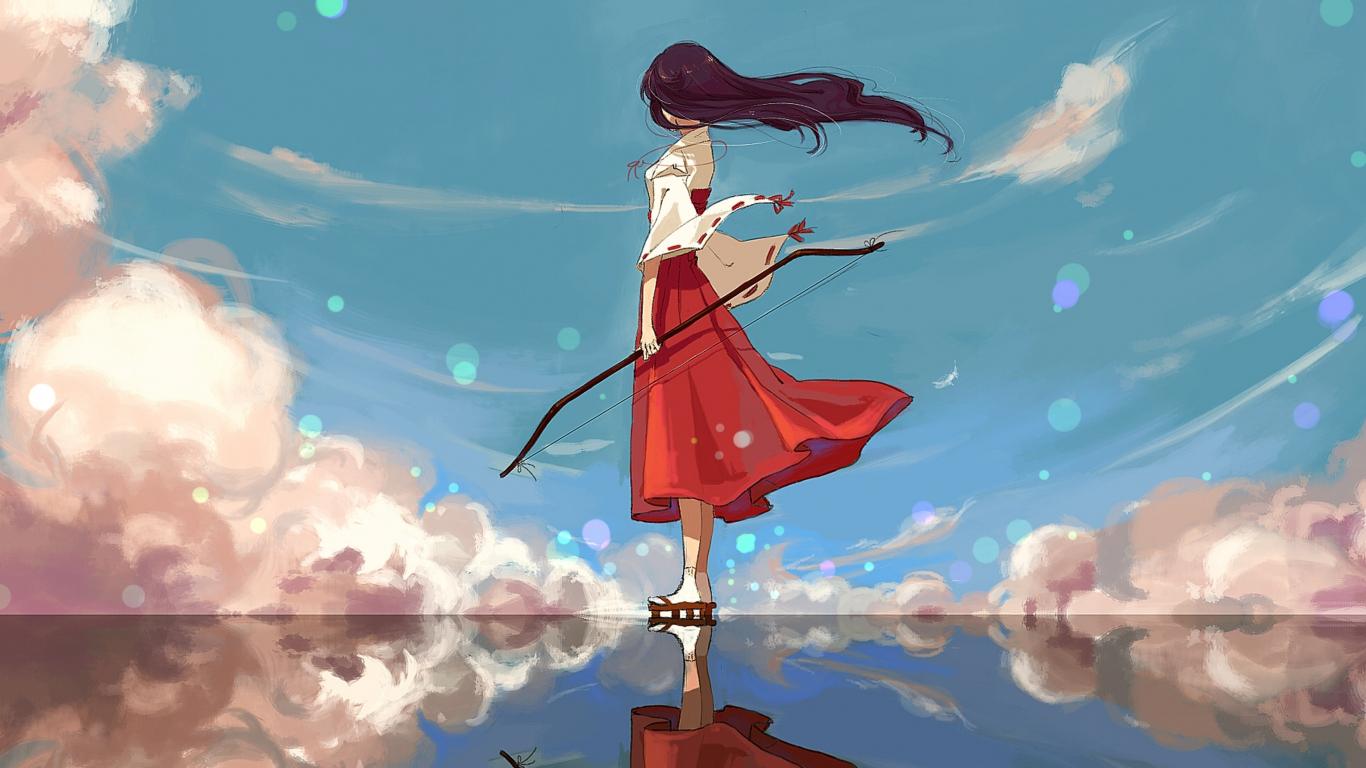 Download 1366x768 Wallpaper Archer Kikyo Inuyasha Anime Girl