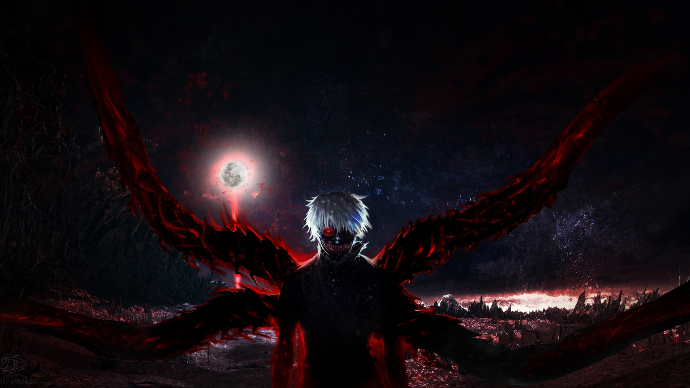 Download 1366x768 wallpaper tokyo ghoul, dark, anime boy ...