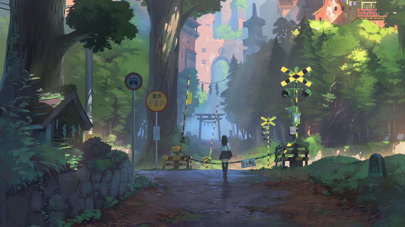 Download 1366x768 wallpaper anime girl railway crossing - Anime scenery wallpaper laptop ...