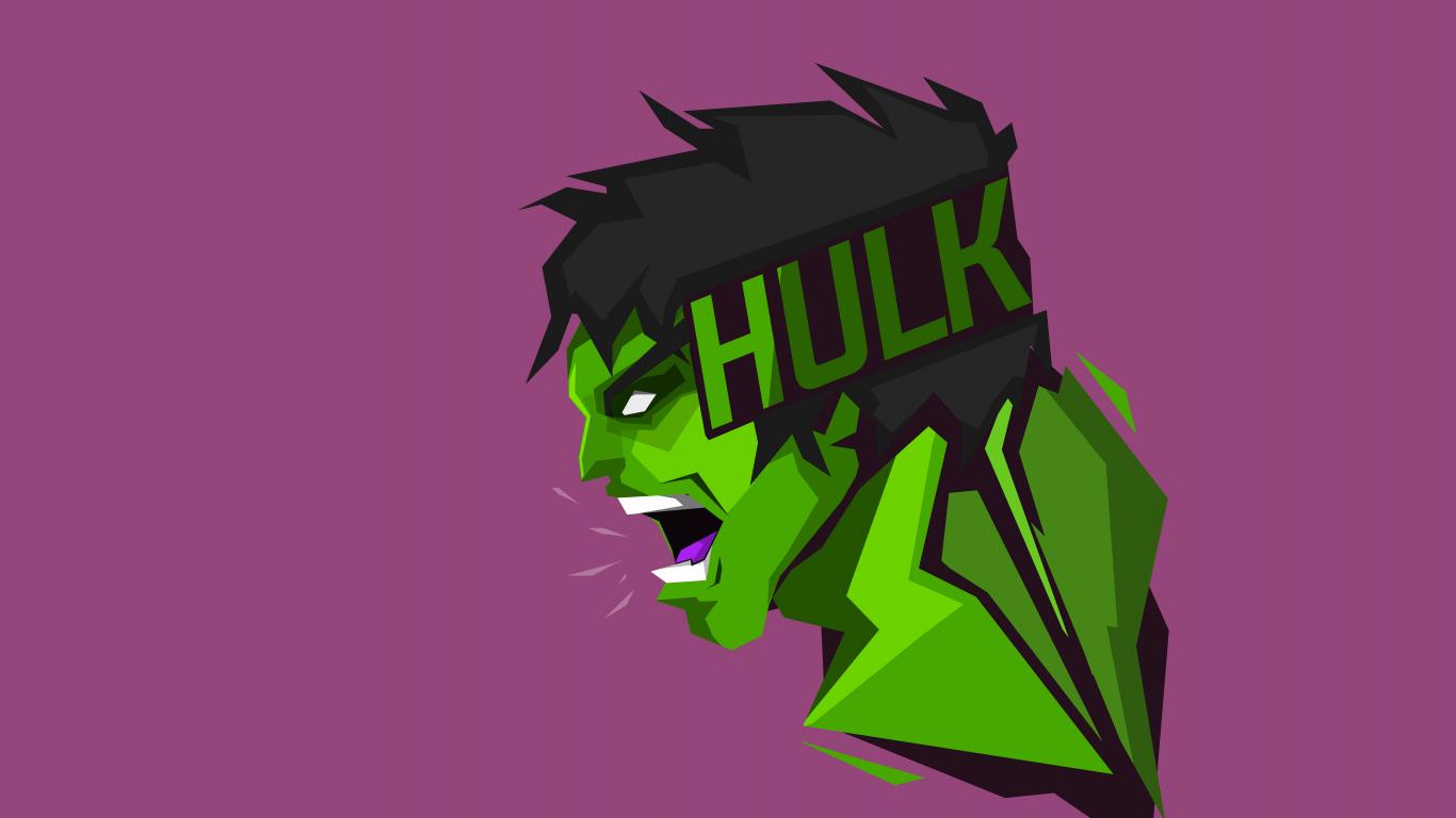 Download 1366x768 wallpaper hulk, superhero, art, minimal ...