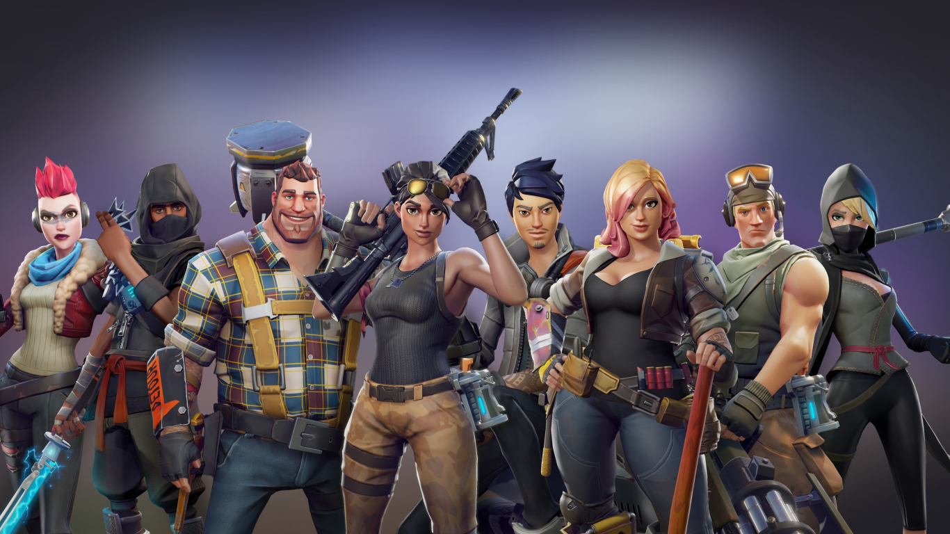 Download 1366x768 Wallpaper All Characters Video Game Fortnite