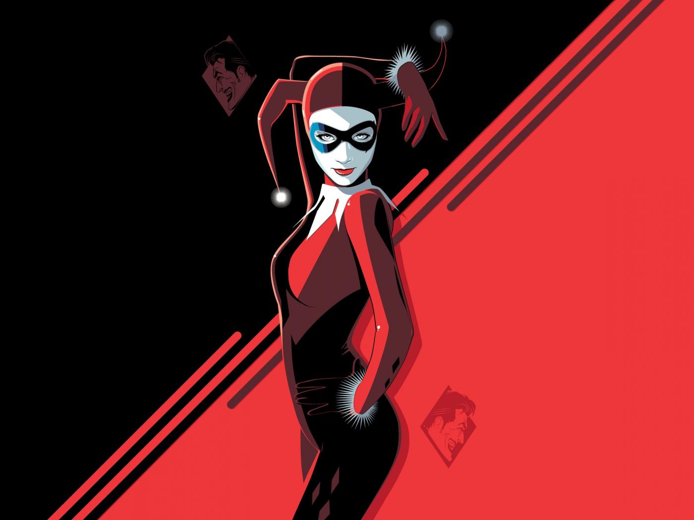 Harley Quinn, minimal, villain, minimal, art, 1400x1050 wallpaper