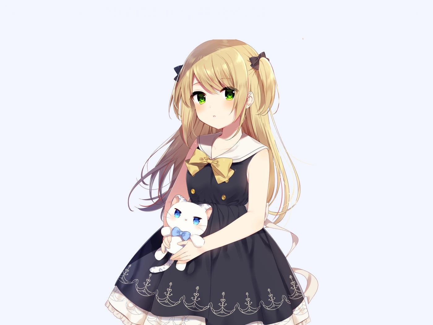 Cute anime girl and her kitten original 1400x1050 wallpaper