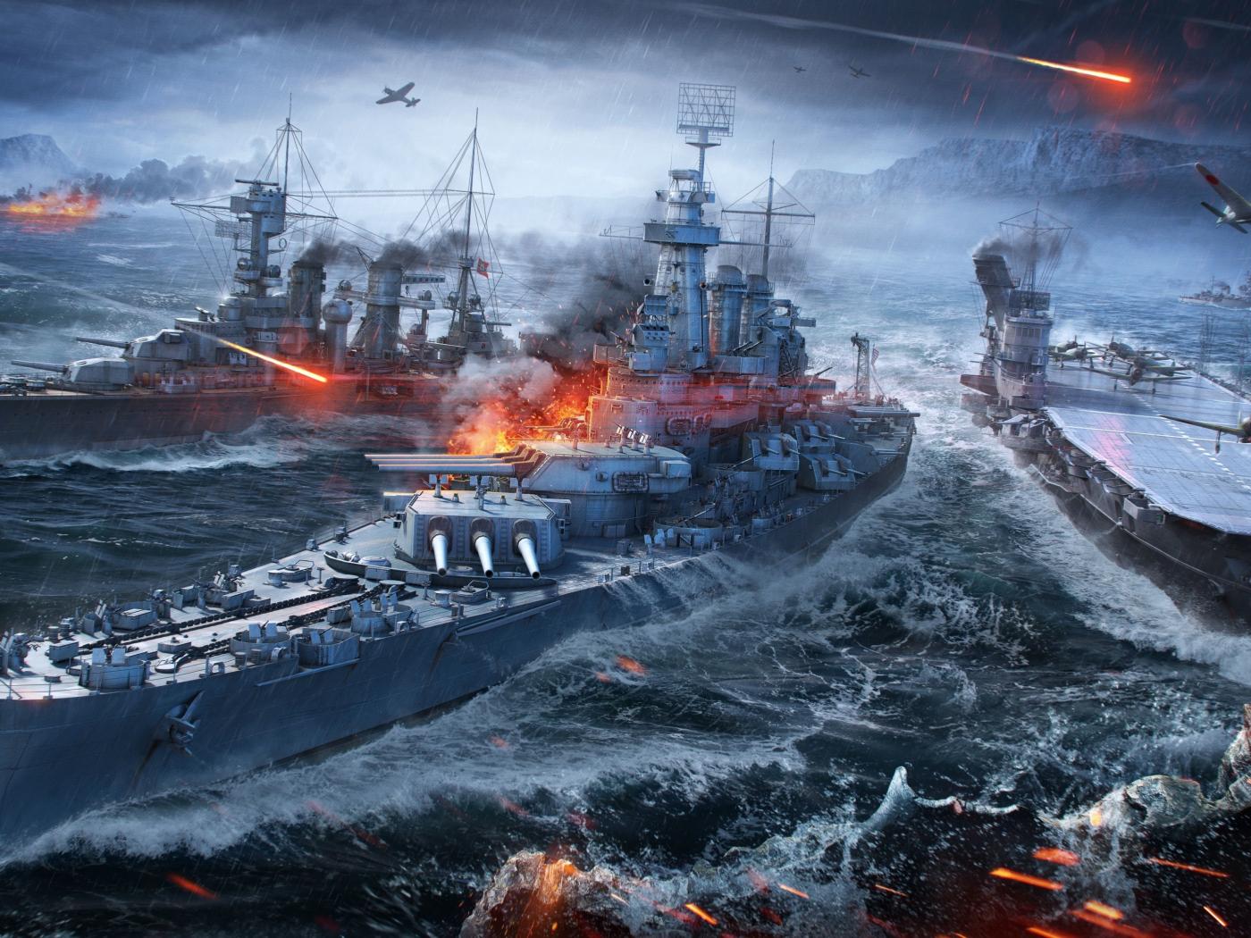 Download 1400x1050 wallpaper video game, warships, ships, world of warships, standard 4:3 ...