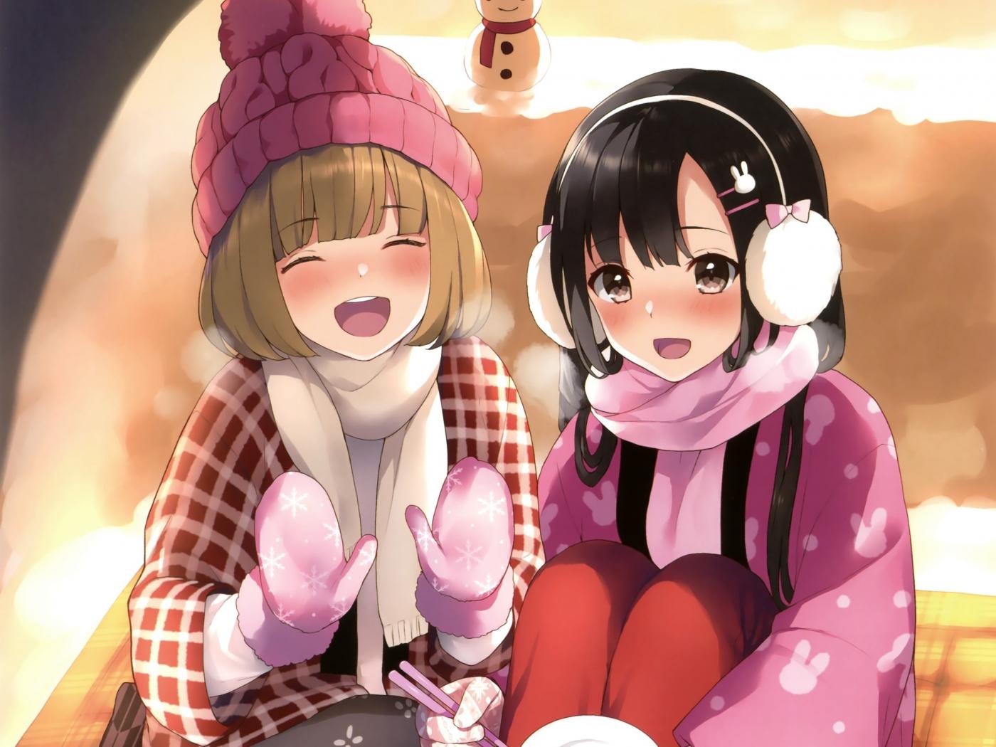 Winter cute anime girls friends 1400x1050 wallpaper