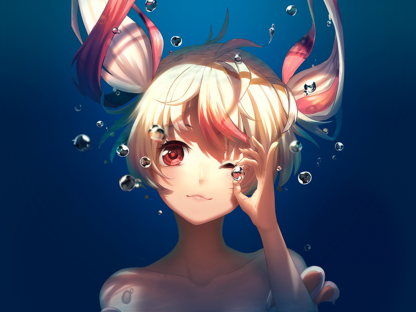 Bubble, underwater, cute, anime girl, Gonna be the Twin-Tail!!, 1400x1050 wallpaper