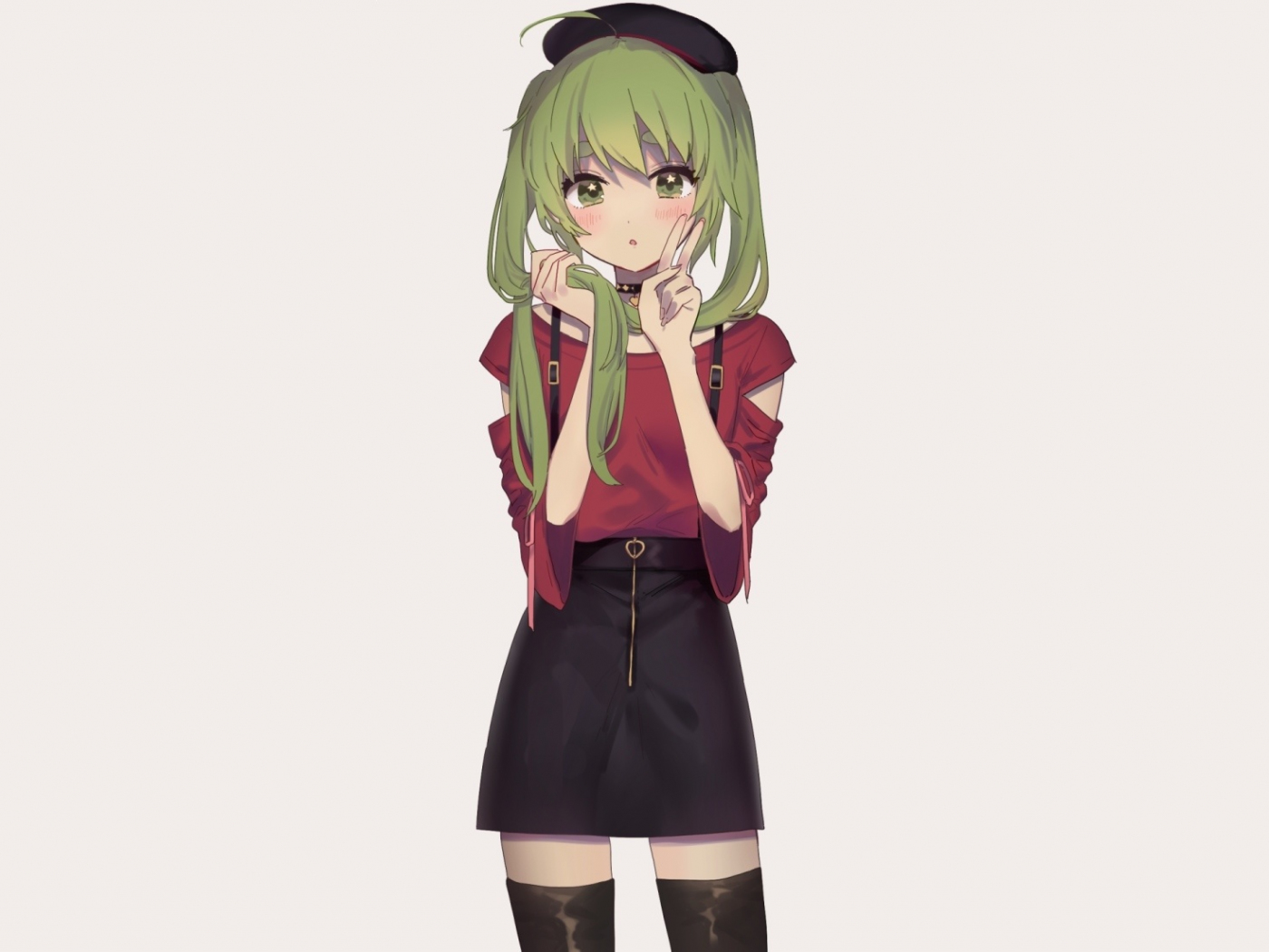 Download 12x12 wallpaper green hair, cute, anime girl
