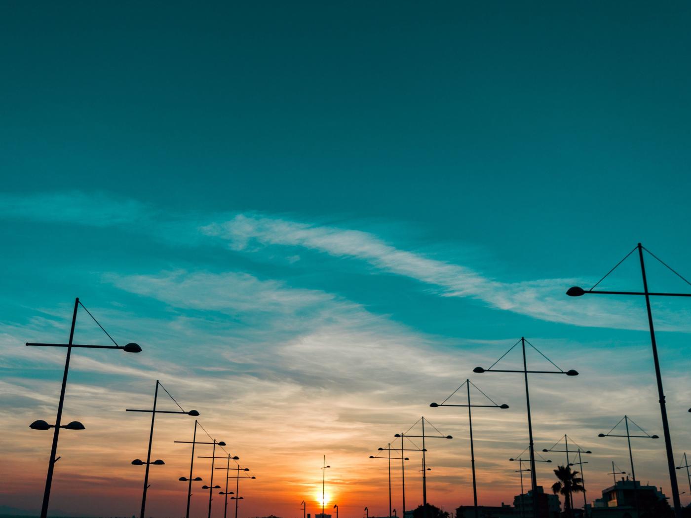 Sunset, landscape, skyline, 1400x1050 wallpaper