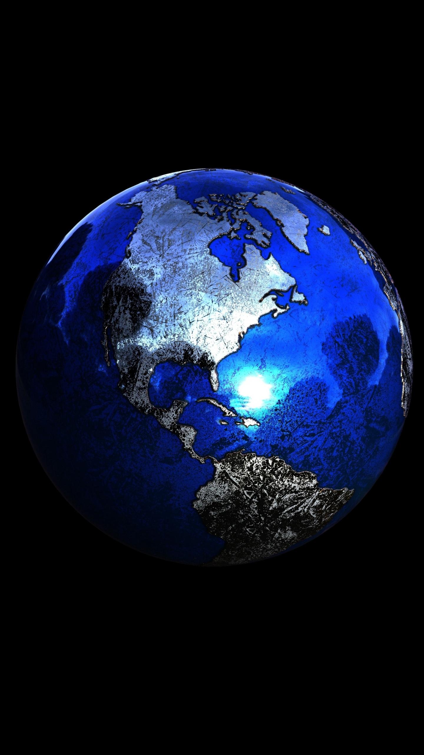 Download 1440x2560 Wallpaper Planet Earth Sphere 3d Figure
