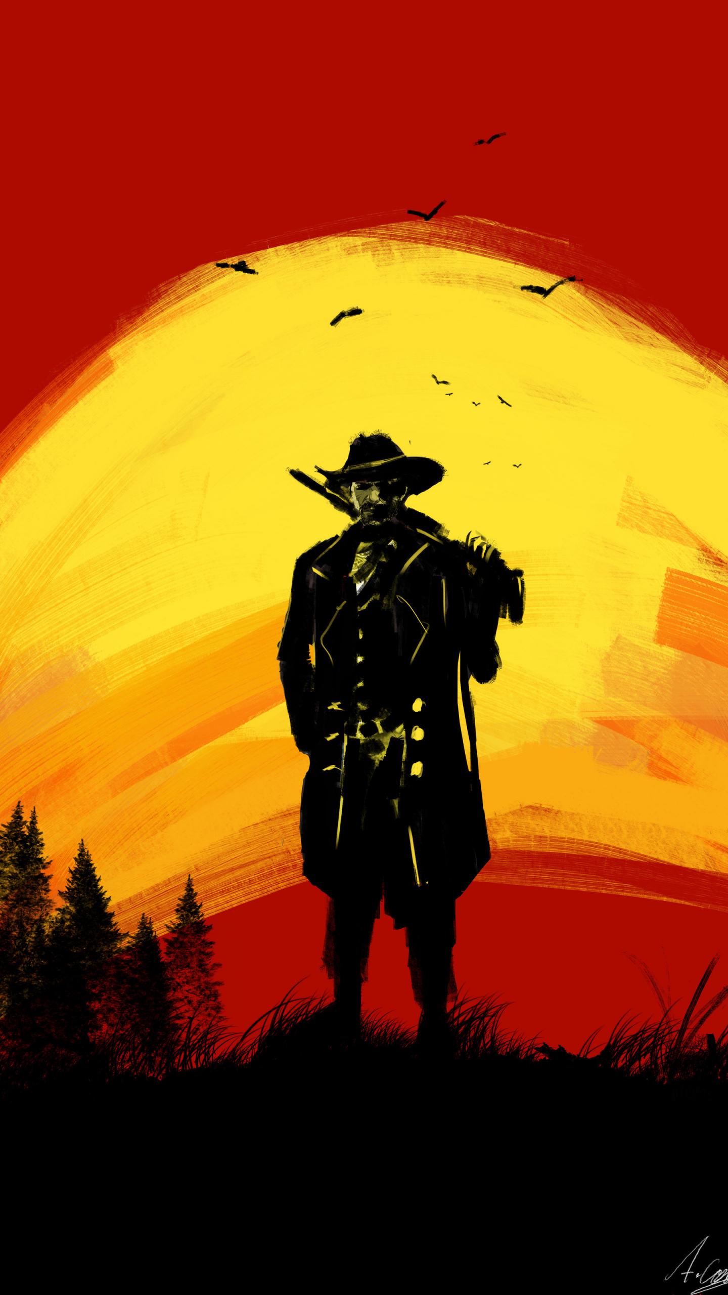 Download 1440x2560 wallpaper red dead redemption 2, cowboy