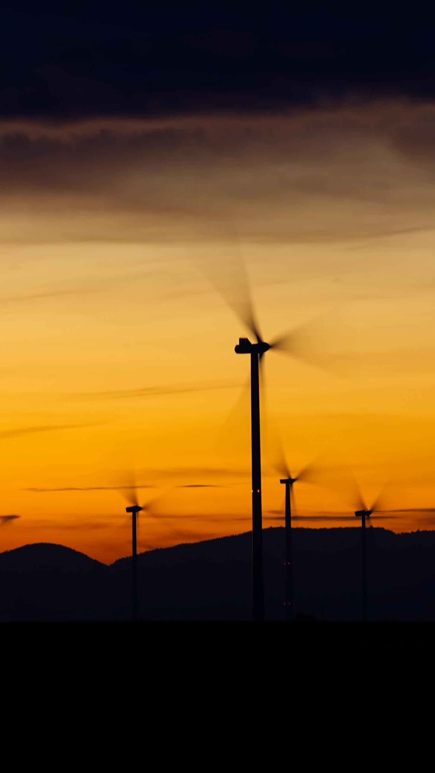 Windrader, windmill, sunset, 1440x2560 wallpaper
