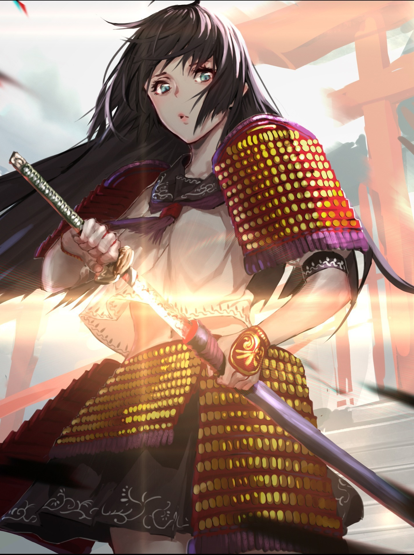 Download 1440x2560 Wallpaper Ninja Warrior Girl Anime Original