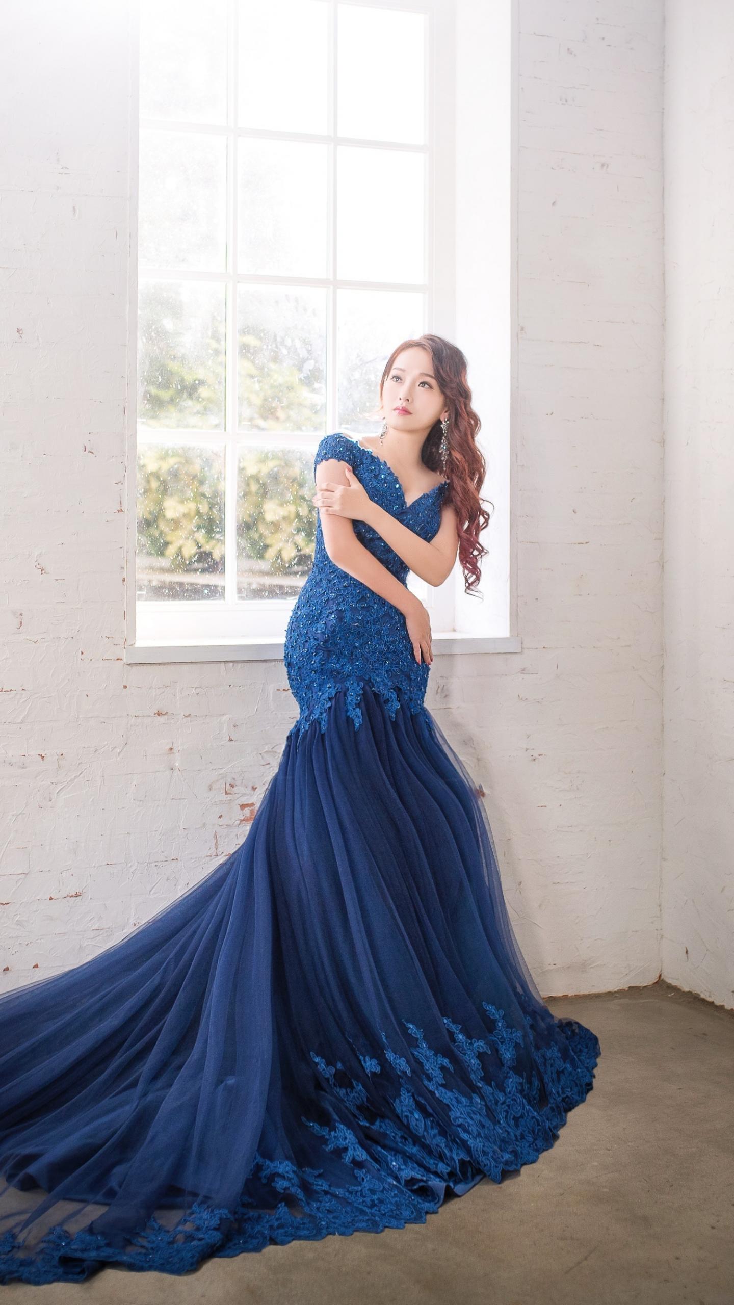 Asian woman, girl, model, blue dress, 1440x2560 wallpaper