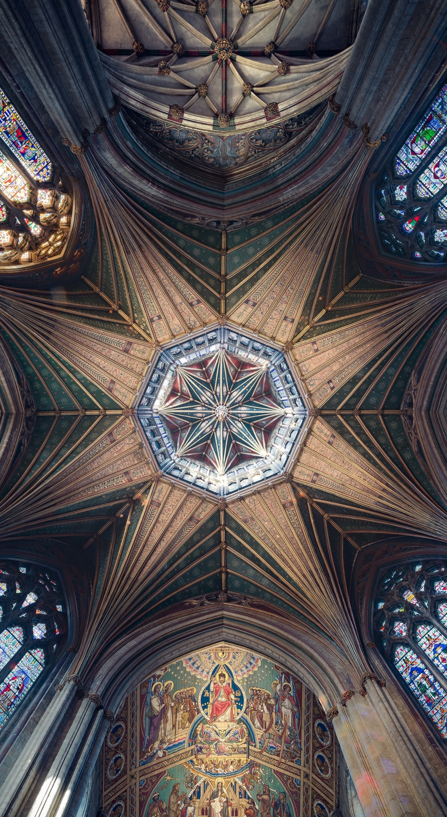 Ceiling, cathedral, symmetrical interior, architecture, 1440x2630 wallpaper