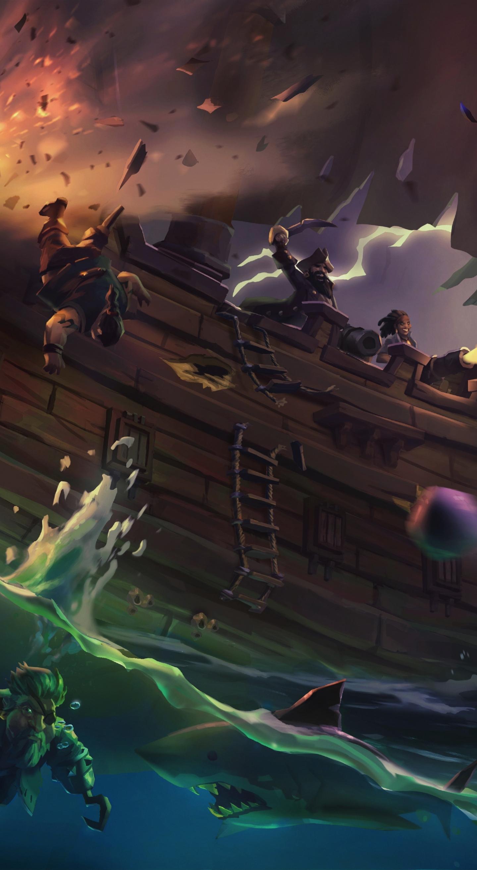 Download 1440x2630 wallpaper sea of thieves, ship, pirates