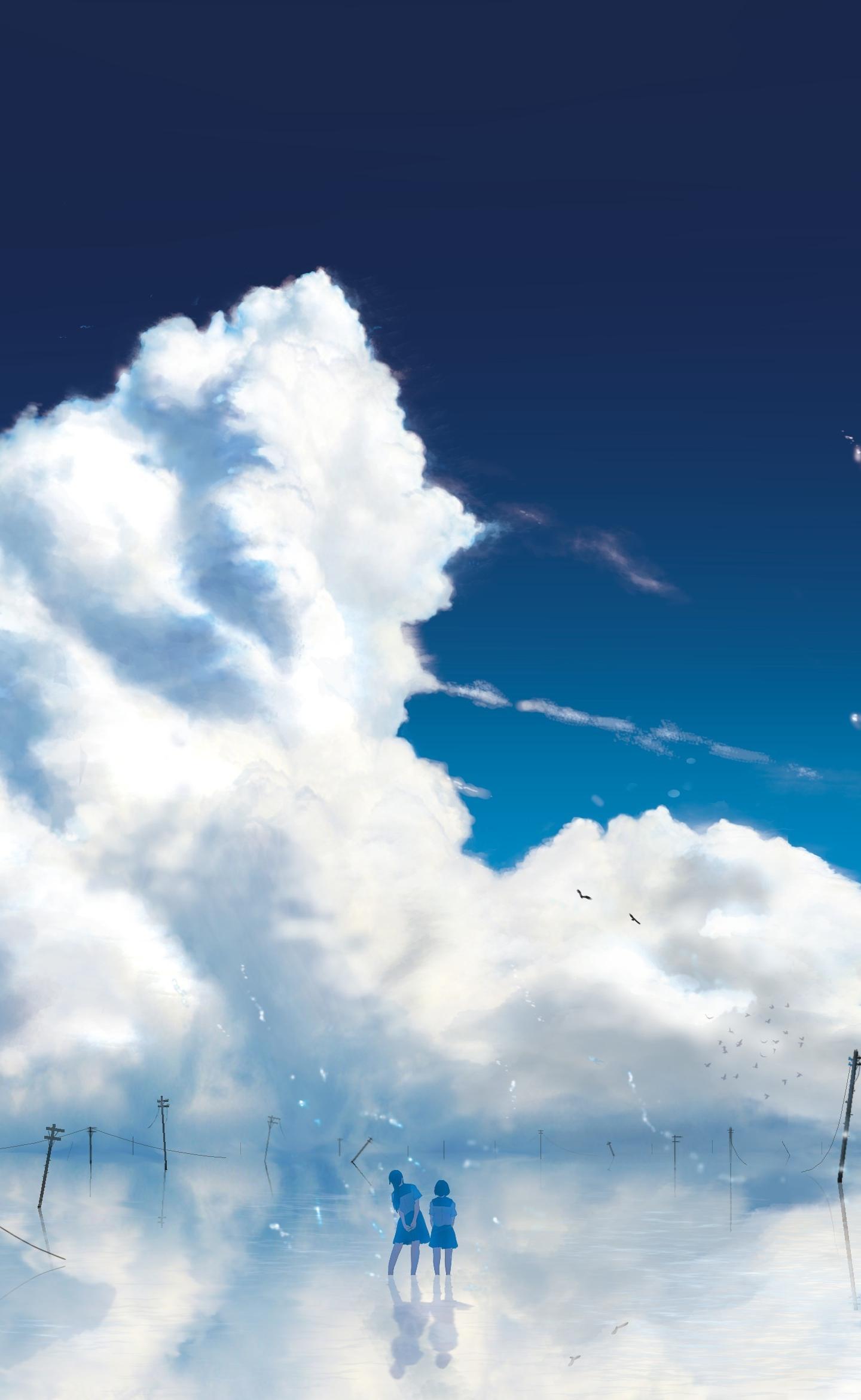 Anime girls, outdoor, clouds, 1440x2630 wallpaper