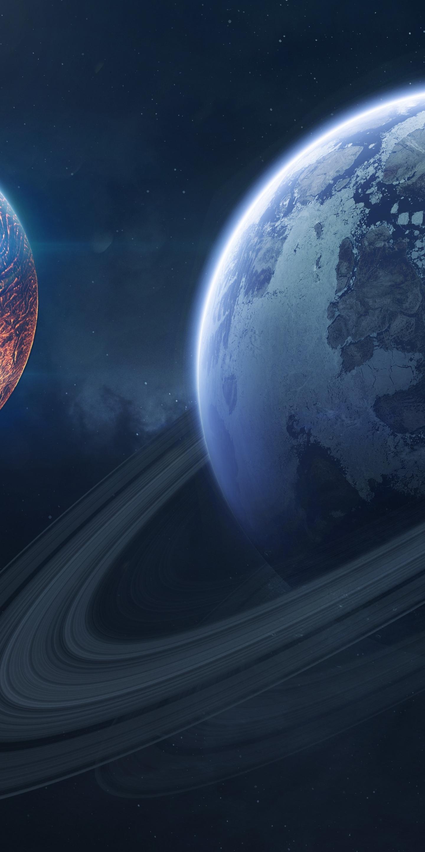 Saturn, space, planet of rings, 1440x2880 wallpaper