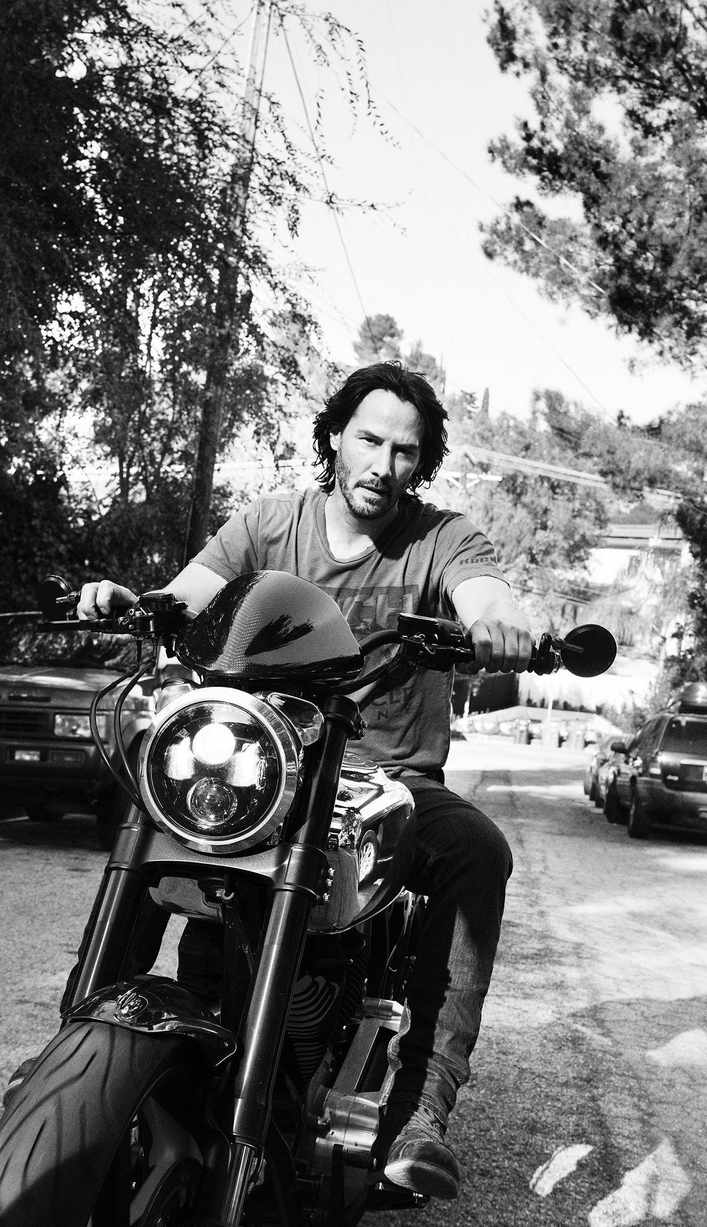 download 1440x2880 wallpaper keanu reeves, on bike, actor
