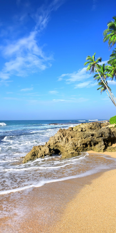 Download 1440x2880 wallpaper beach, sea waves, tropical ...