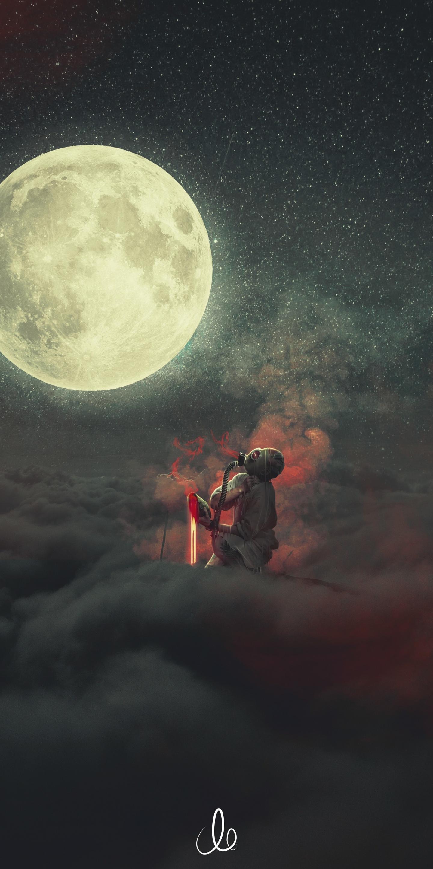 download 1440x2880 wallpaper demon, dream, clouds, moon, fantasy, lg