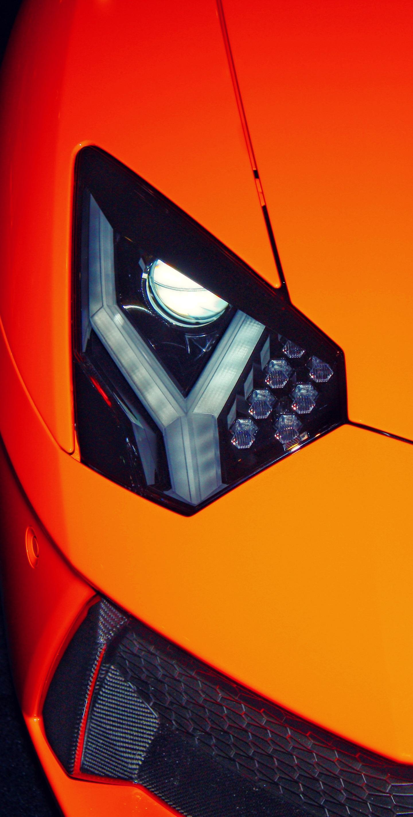 Exotic car, Lamborghini, headlight, 1440x2880 wallpaper