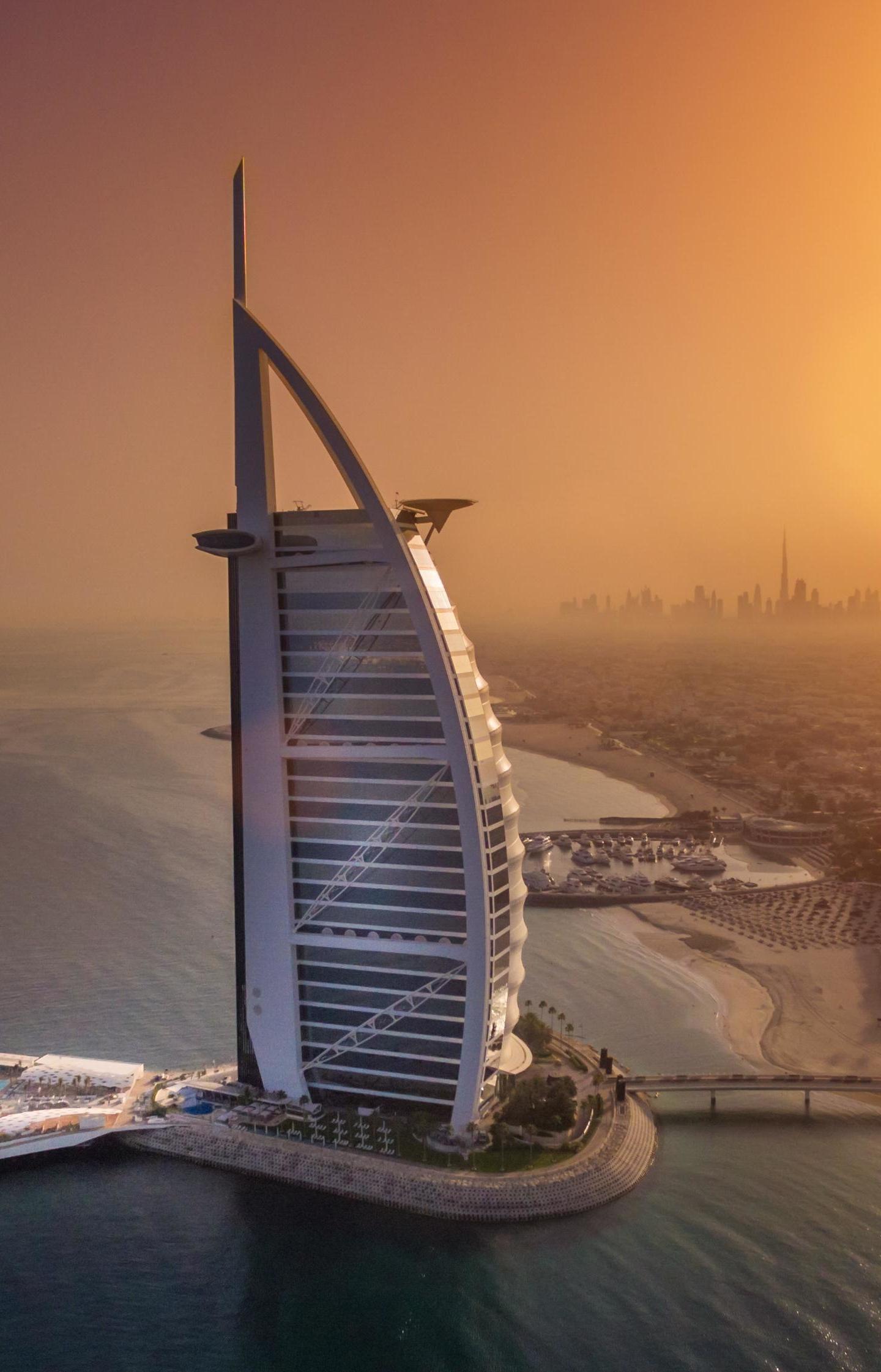 Download 1440x2880 wallpaper cityscape, aerial view, dubai, burj al