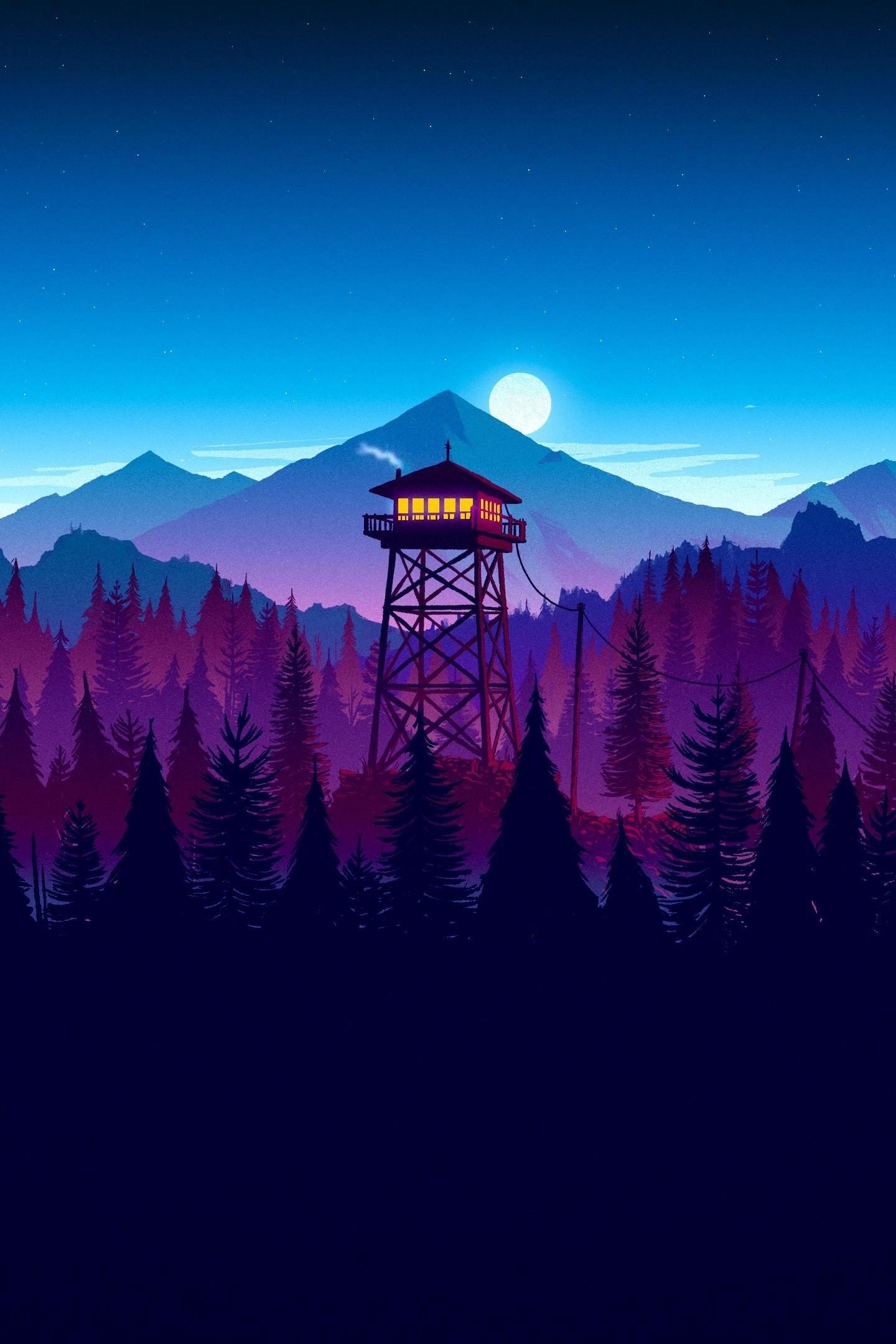 Download 1440x2960 Wallpaper Firewatch Video Game Sunset Artwork