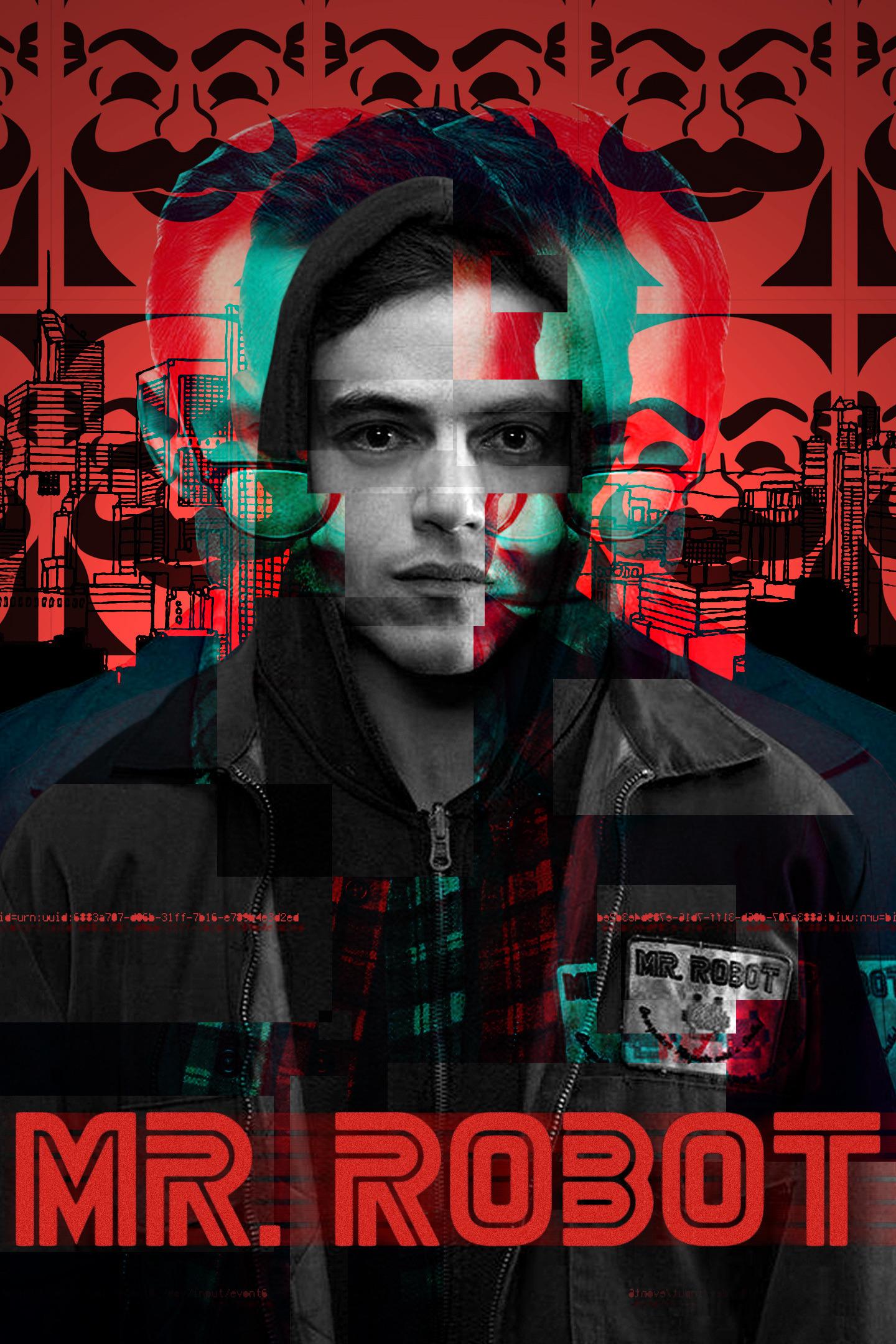 Download 1440x2960 wallpaper mr  robot, glitch art, tv