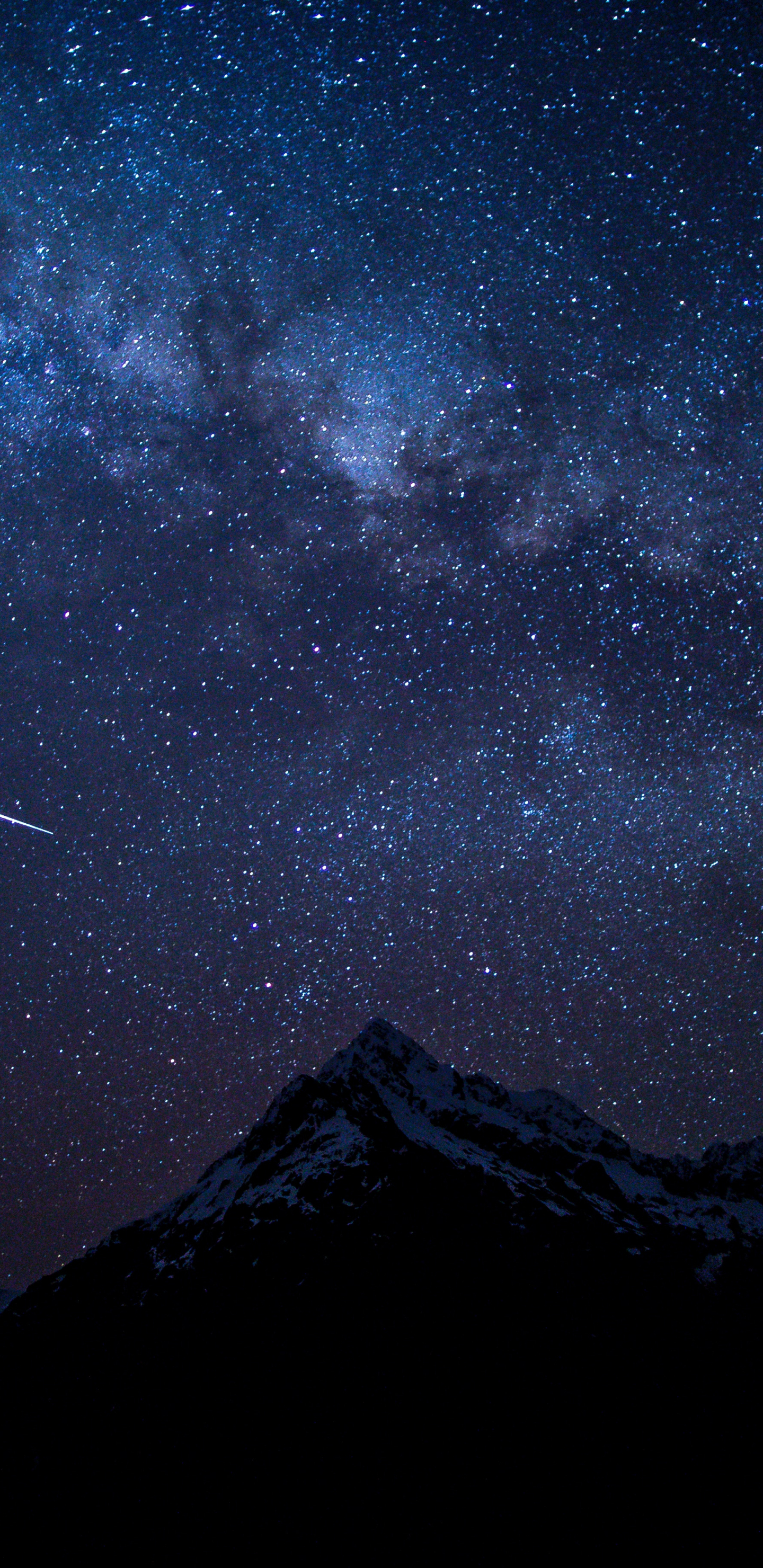 Starry sky, night, mountains, nature, 1440x2960 wallpaper