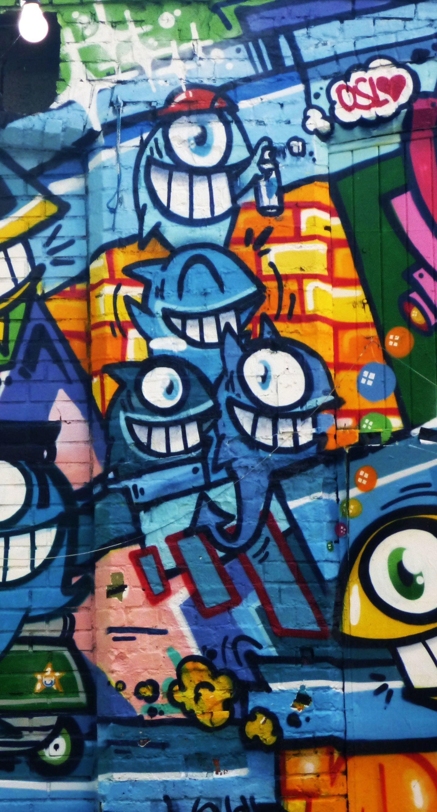 Graffiti Wall Art Bright Street 1440x2960 Wallpaper