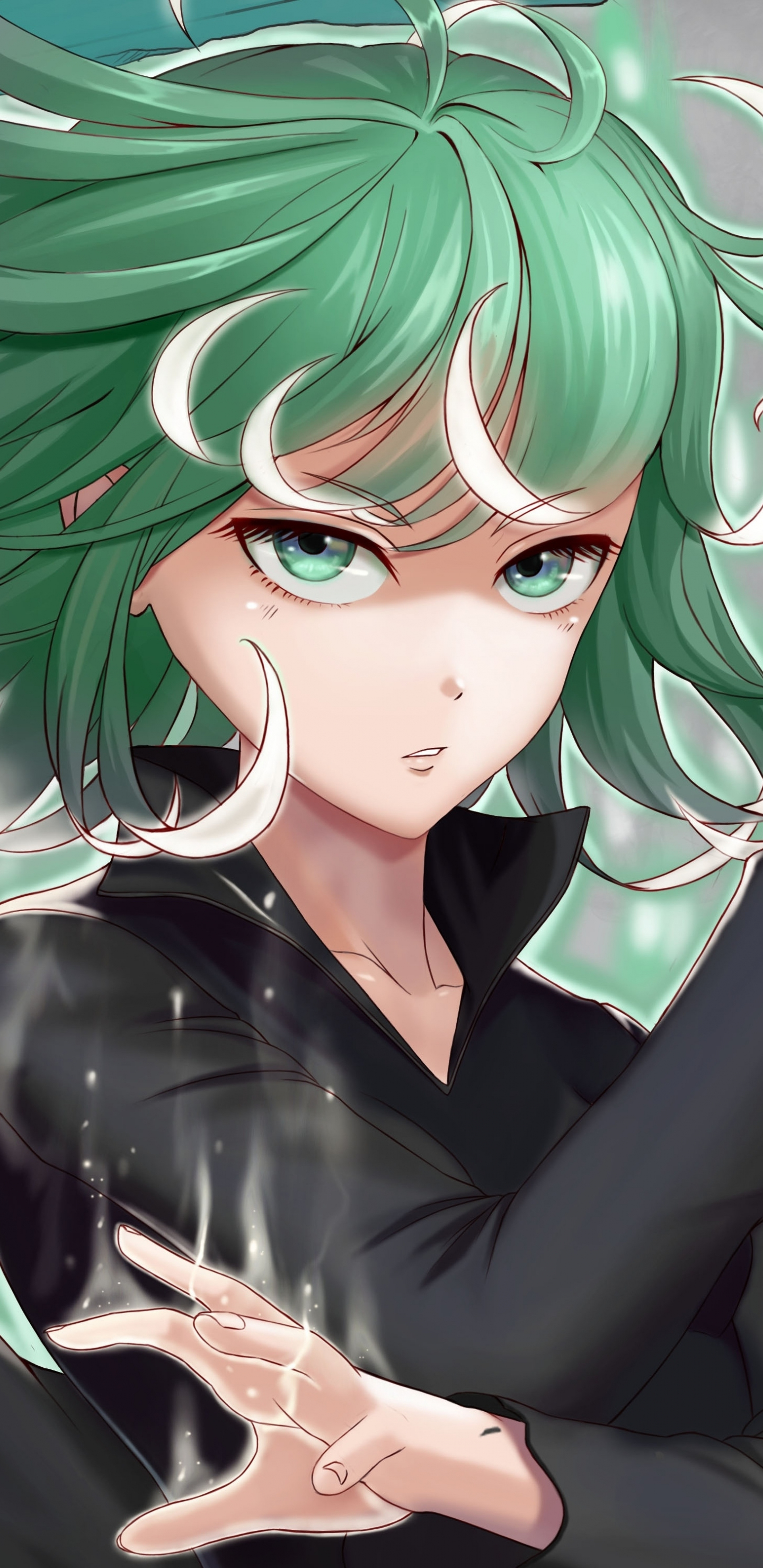 Download 1440x2960 Wallpaper Green Hair Tatsumaki One Punch Man