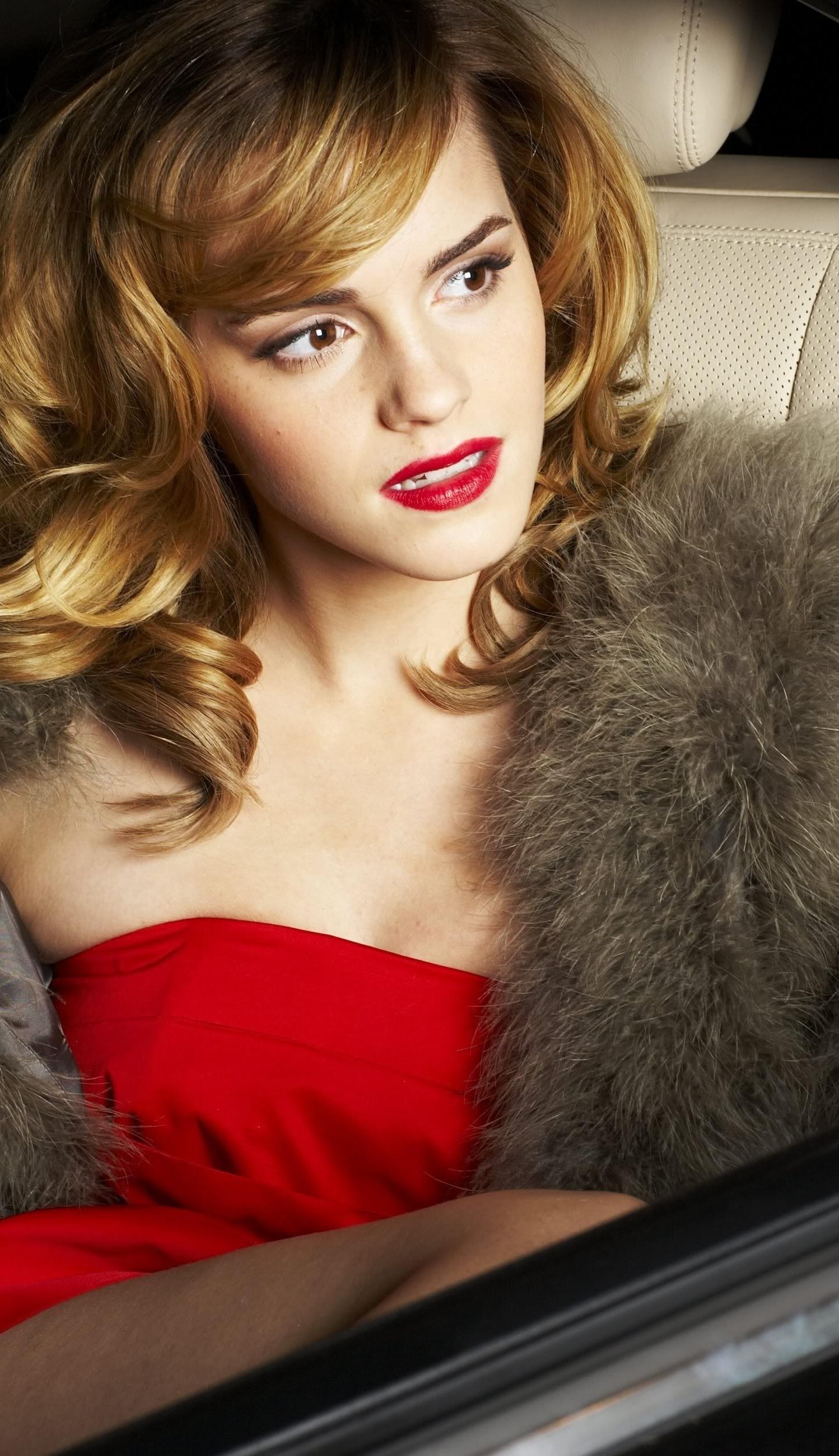download 1440x2960 wallpaper emma watson, red dress, inside car