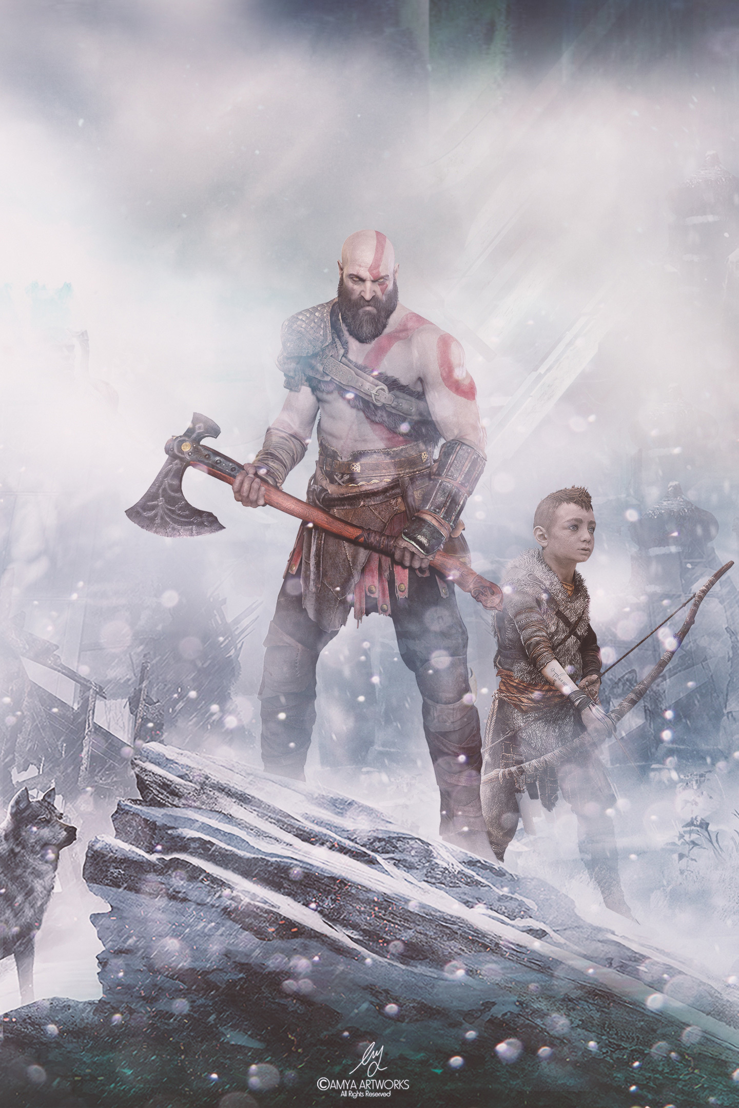 Download 1440x2960 Wallpaper God Of War Video Game Warrior