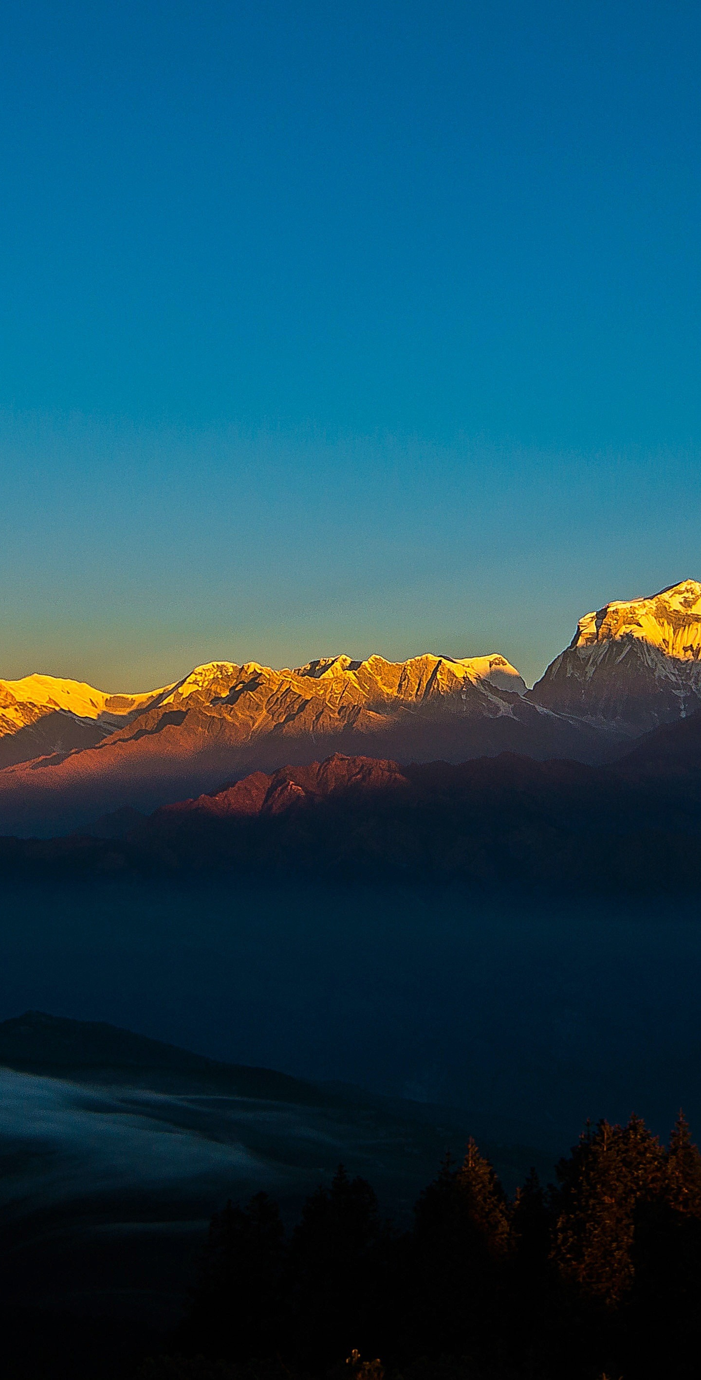 Download 1440x2960 wallpaper sunset, clean sky, golden ...
